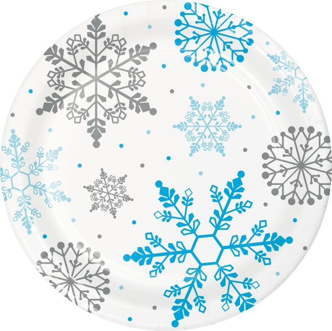 Winter Snowflake 9 Inch Plates Snowflake Party