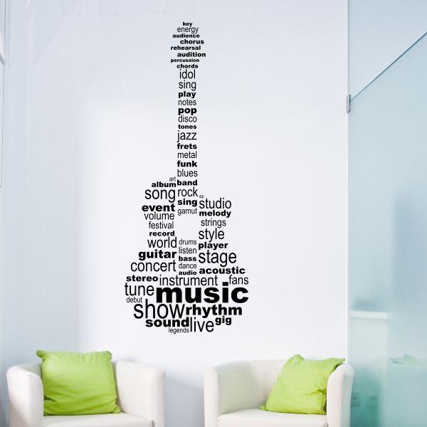 Vinilo decorativo de guitarra armada con textos sobre música. Masquevinilo.com