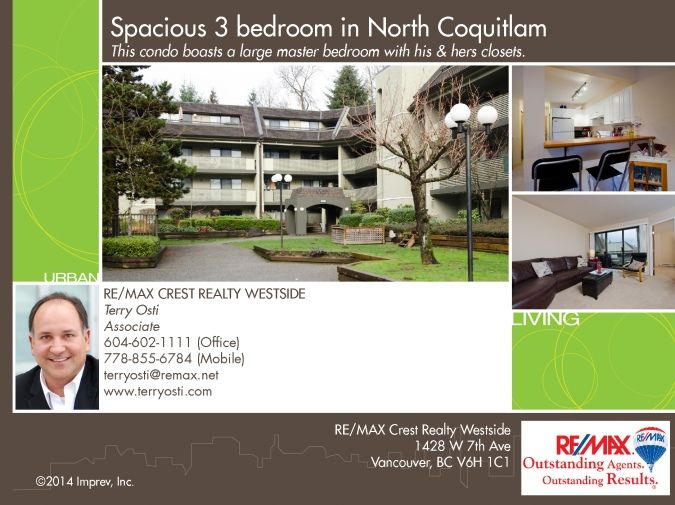 #408 1200 Pacific Street MLS# V1045088 This condo boasts a large master bedroom with his & hers closets. The building was completely renovated with rain screening, new roof, new piping in 2008, as well as, new counters, cabinets, flooring, paint & lighting. Only steps to the Coquitlam Shopping Centre, West Coast Express (25 min to downtown), Aquatic Centre, gym, theatres, Douglas College & Lafarge Lake & sports complex & 3 future Evergreen Line stations!