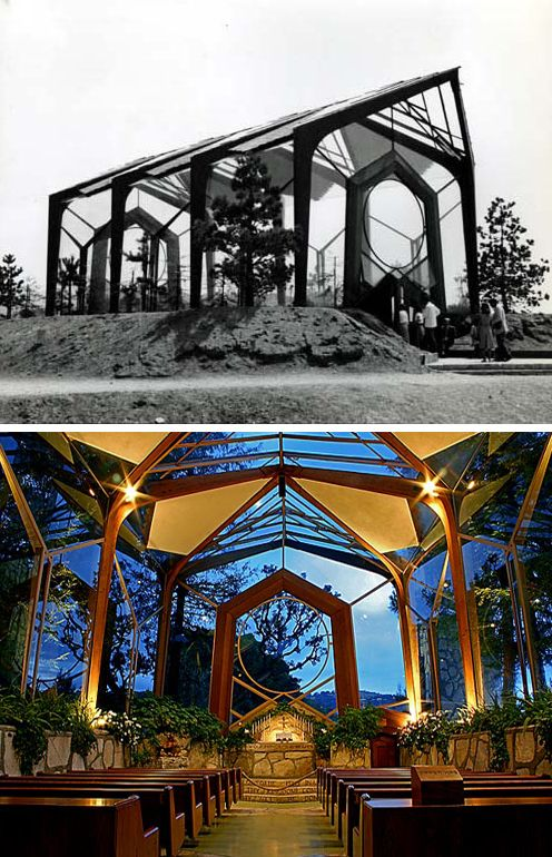 Wayfarers Chapel is one of the most beautiful chapels for a small intimate wedding. Located in Ranchos Palos Verdes and designed by Lloyd Wright in the late 1940's. Known as the glass church, it features geometric shapes and incorporates the natural landscape into the design. Stunning!