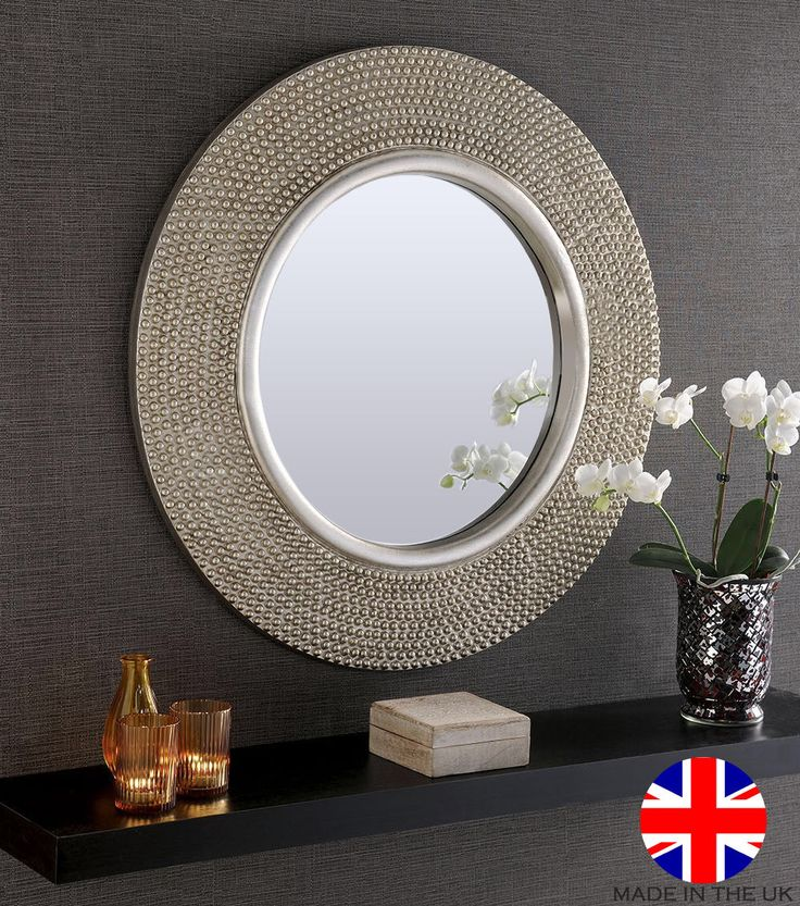 Modern Large Round Wall Mirror Living Room Hall Gold