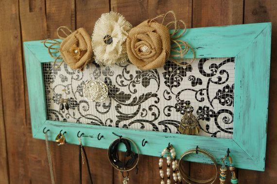 Framed Upcycled Jewelry Holder - Large Turquoise Jewelry Organizer - Ring Holder - Necklace Earring Hanger - Burlap Flowers - Jewelry Hooks