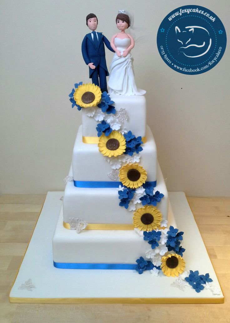 Lovely sunflower and hydrangea wedding cake, made by The Foxy Cake Company!