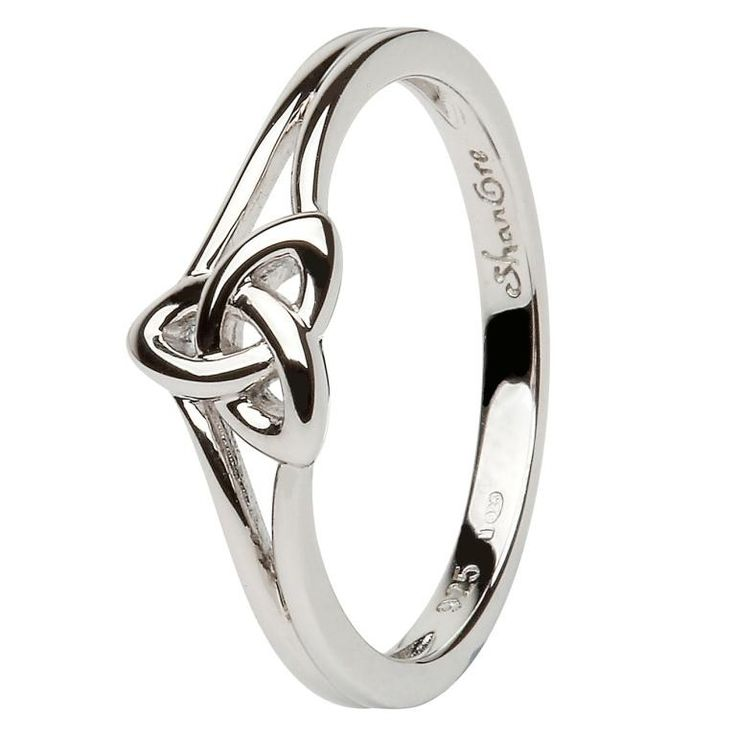Perfect promise ring. Anniversary ring. Shanore Celtic Trinity knot ring in sterling silver. Celtic Trinity knots are an Ancient Celtic symbol as well as a Christian symbol. They frequently represent a sacred three; either father, son, holy spirit, or mother, maiden, crone. It also represents unity and wisdom.