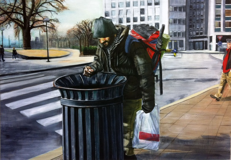 "Acrylic    ""City scene from the shadows"""
