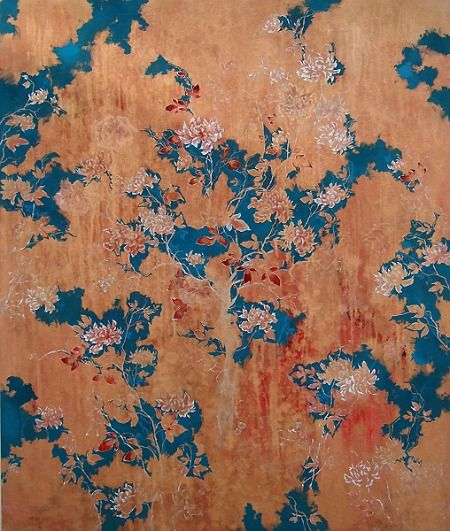 Henrik Simonsen: Fragile, 2010 Wallpaper design, petrol blue and peach with blush pink blossom