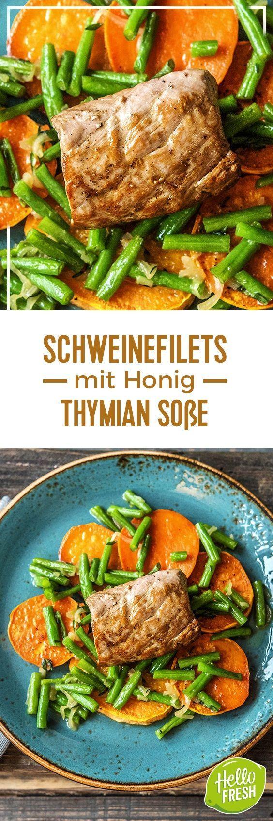 Step by Step Rezept: Schweinefilets mit Honig-Thymian-Soße, dazu gebackene Süßkartoffelscheiben und Buschbohnen  Rezept / Kochen / Essen / Ernährung / Lecker / Kochbox / Zutaten / Gesund / Schnell / Frühling / Einfach / DIY / Küche / Gericht / Blog / Leicht  / 30 Minuten / Schwein / Filet / Sonntagsbraten / Glutenfrei / Kalorienarm  #hellofreshde #kochen #essen #zubereiten #zutaten #diy #rezept #kochbox #ernährung #lecker #gesund #leicht #schnell #frühling #einfach #küche #gericht #trend…