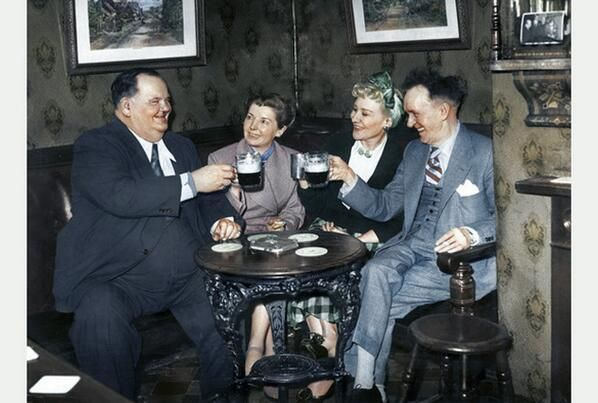 laurel & hardy and their wives in 1952