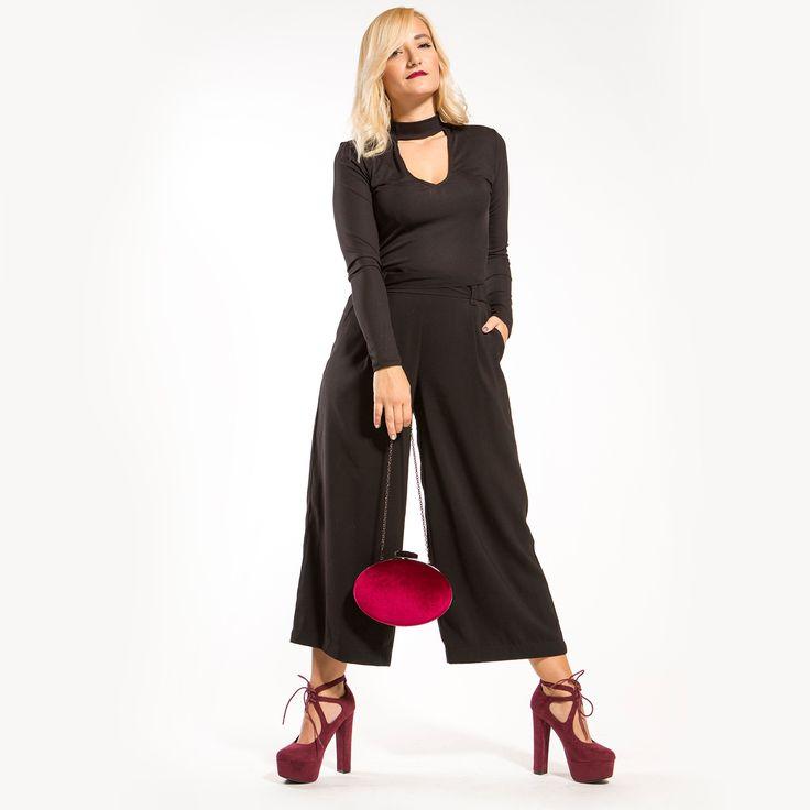 Dark red high heel pump