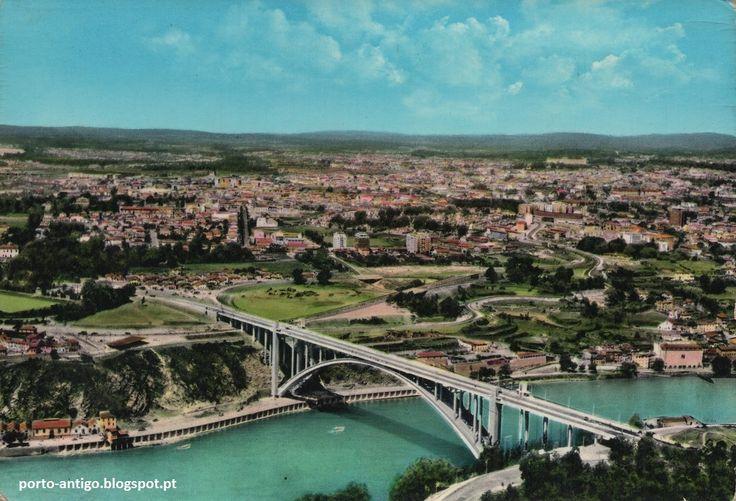 PORTO e RIO DOURO vista aérea anos 1960 - Postal antigo PORTUGAL OPORTO