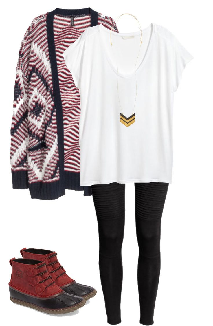 Fall outfit idea featuring a tribal print cardigan, moto leggings and Sorel boots.