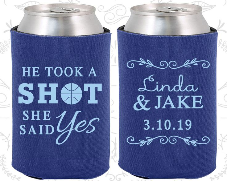 He Took a Shot, She Said Yes, Personalized Wedding, Basketball Wedding Favors, Sports Wedding Favors, Wedding Coozies (324)