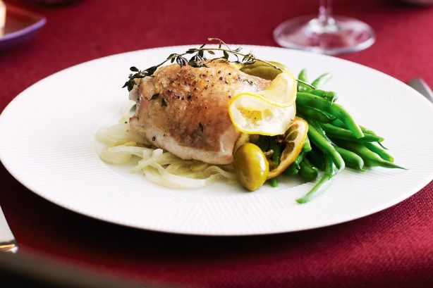 Roast chicken with lemon and olives main image