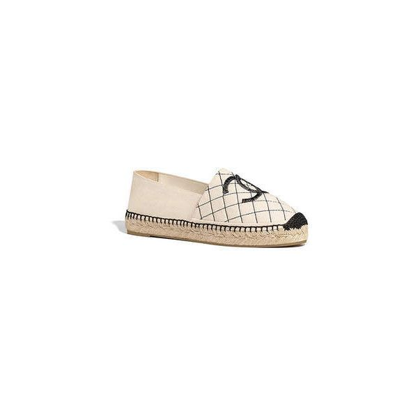 beige black Chanel ❤ liked on Polyvore featuring shoes, kohl shoes, beige espadrilles, black shoes, chanel footwear and beige shoes
