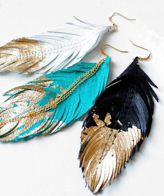 Leather Gold Dipped Feather Earrings <3