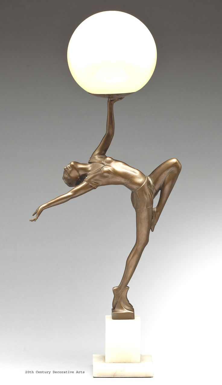 An Art Deco cold-painted metal figural lamp, Germany circa 1930s.