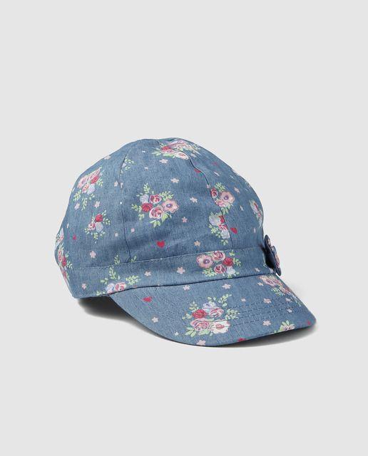 Gorra de bebé niña Freestyle en azul con estampado floral  5ff8c7594d7