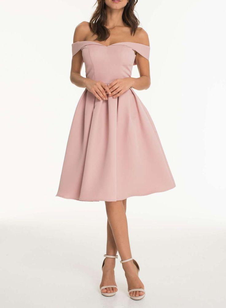 **Chi Chi London Fold over bardot midi dress
