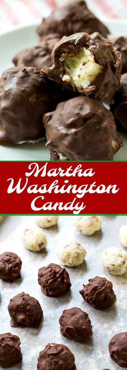 Martha Washington Candy has a pecan and coconut center covered in chocolate. #candy #Christmas #coconut