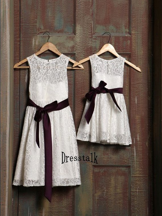 White ivory lace flower girl dress with plum purple by for Purple and ivory wedding dress