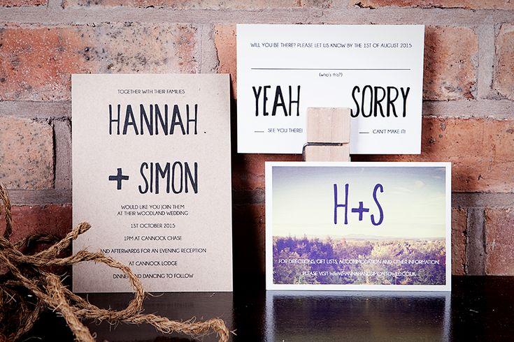 Contemporary Kraft Wedding Stationery www.emmydesigns.co.uk