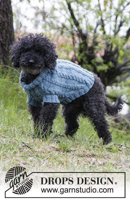 Barking Cables / DROPS 185-33 - Dog's knitted jumper with cables. Sizes XS - M. The piece is worked in DROPS Karisma.