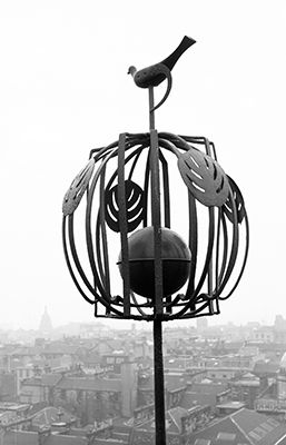 The Glasgow School of Art's weather vane, with Glasgow/Mackintosh roses. (Photo: Eric De Mare, c.1960, via Royal Commission on the Ancient and Historical Monuments of Scotland)