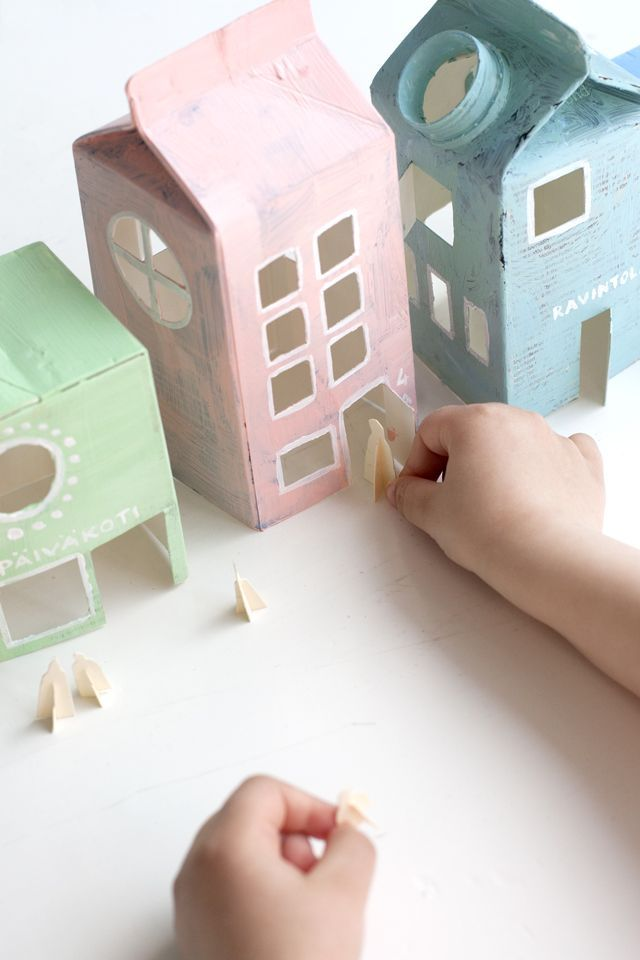 mommo design: RECYCLE AND PLAY - Milk cartons village