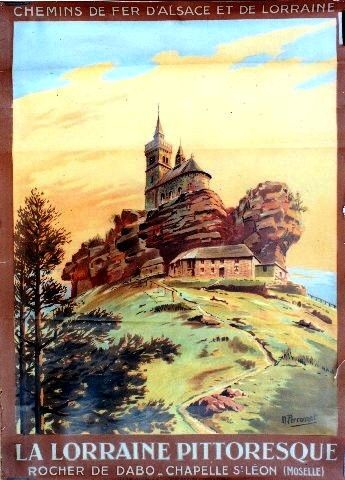 Vintage Railway Travel Poster -  La Lorraine Pittoresque - Rocher de Dabo - Chapelle St Léon - by Perronet.