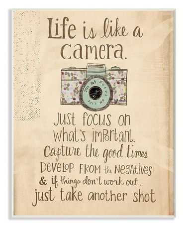 Love this 'Life is Like a Camera' Wall Art on #zulily! #zulilyfinds