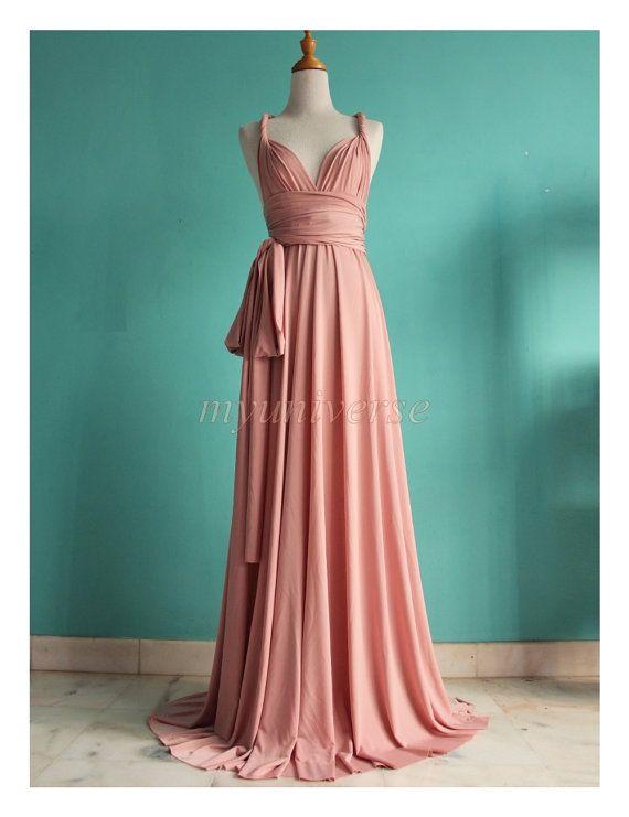 Dusty Pink Wedding Bridesmaid Dress Wrap Convertible Dress Peach Infinity Dress Maxi Dress sur Etsy, 74,19€