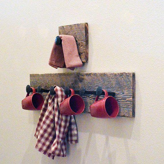 Rustic wall hook towel hook railroad spike coat hanger