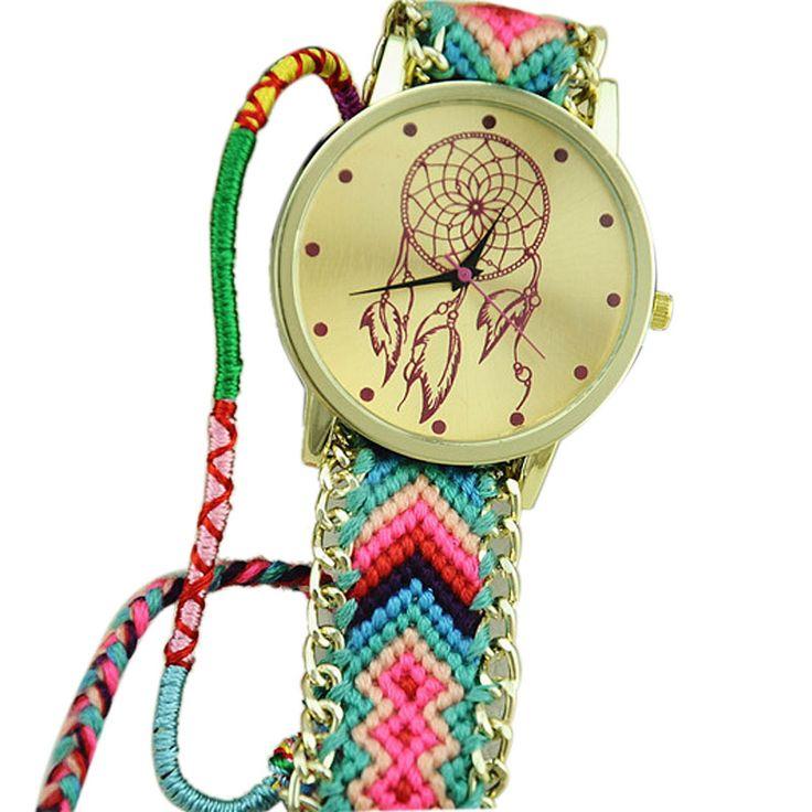 ed570f807ef1 Multicolore Dreamcatcher Amiti eacute  Femmes Bracelet Montres Femmes Tissu  Tresse Robe Ethnique Style Quartz Montre Relojes Mujer