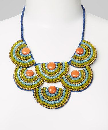 Take a look at this Green & Blue Bead Bib Necklace by PANNEE JEWELRY on #zulily today!