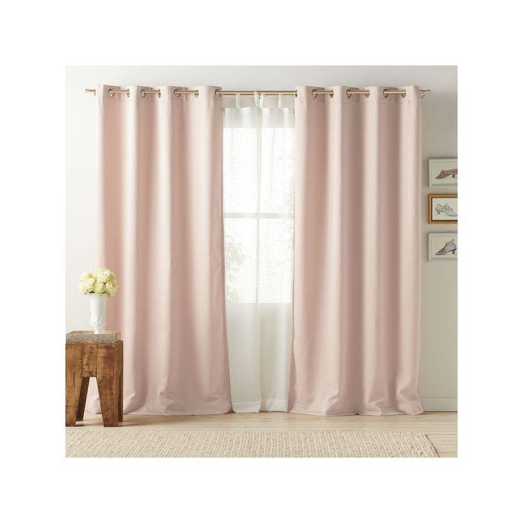 LC Lauren Conrad Antigua Room Darkening Lined Curtain, Pink