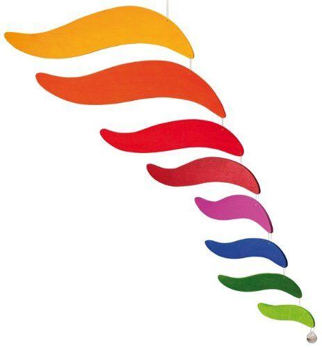 """Windspiel, Mobile """"Moving Colours"""" handgearbeitet aus lackiertem Holz, werkstatt-design... schönes aus werkstätten für behinderte Menschen"""