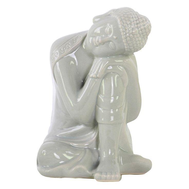 Urban Trends Ceramic Head on Left Knee Buddha Sculpture Gray - 35401