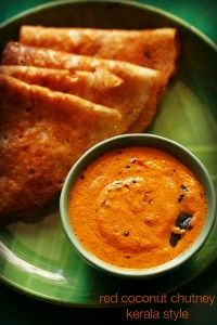 red coconut chutney recipe with step by step photos - a bright red colored kerala style coconut chutney recipe for idli, dosa and uttapams.