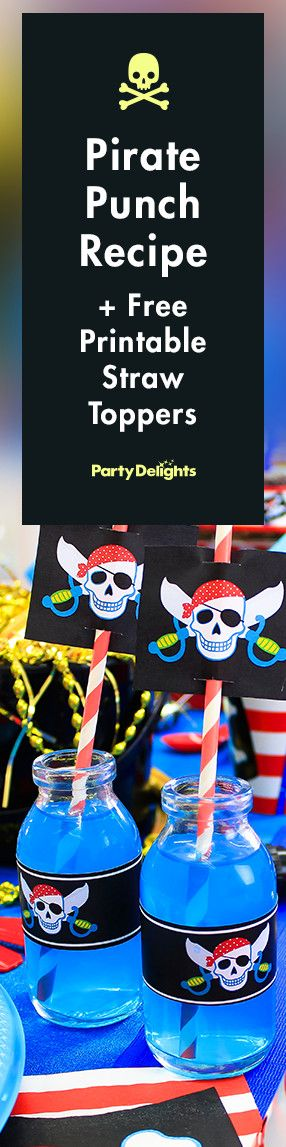 Find out how to make our pirate punch - a great pirate themed party food idea for kids. Serve it in mini milk bottles for a nautical look and decorate with our free printable jolly roger straw toppers.