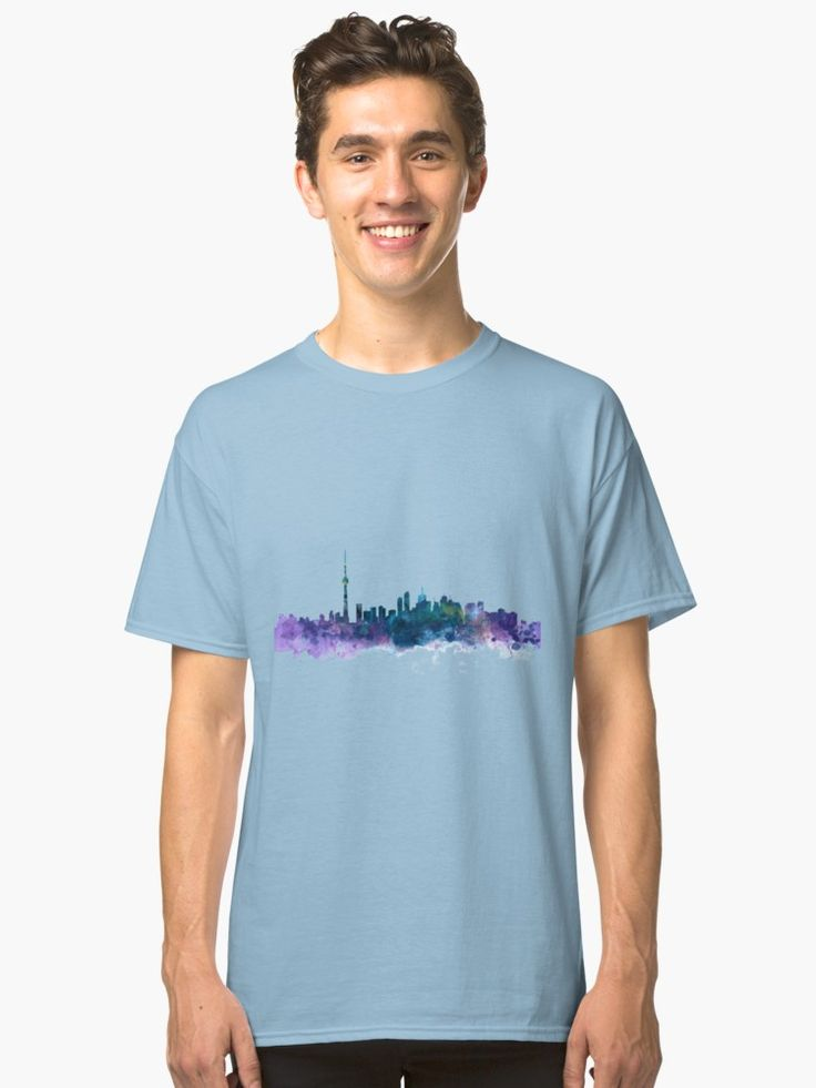 Toronto Skyline  #toronto #ontario #canada #skyline #cityscape #landscape #art #print #classic #tshirt #clothing #style #gift #ideas #colorful #architecture #abstract #watercolor #travel #landmarks #skyscraper #urban #canadian