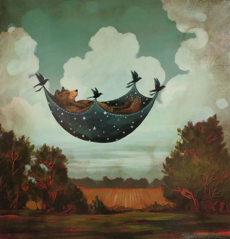 """Oh Lookie!! Corvidae is giving Brown Bear a Ride up in the Clouds....now THAT'S DayDreaming!!! by Elizabeth Foster - """"Daydreamer"""""""