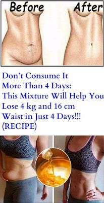 Don't Consume It More Than 4 Days: This Mixture Will Help You Lose 4 kg and 16 cm Waist in Just 4 Days!