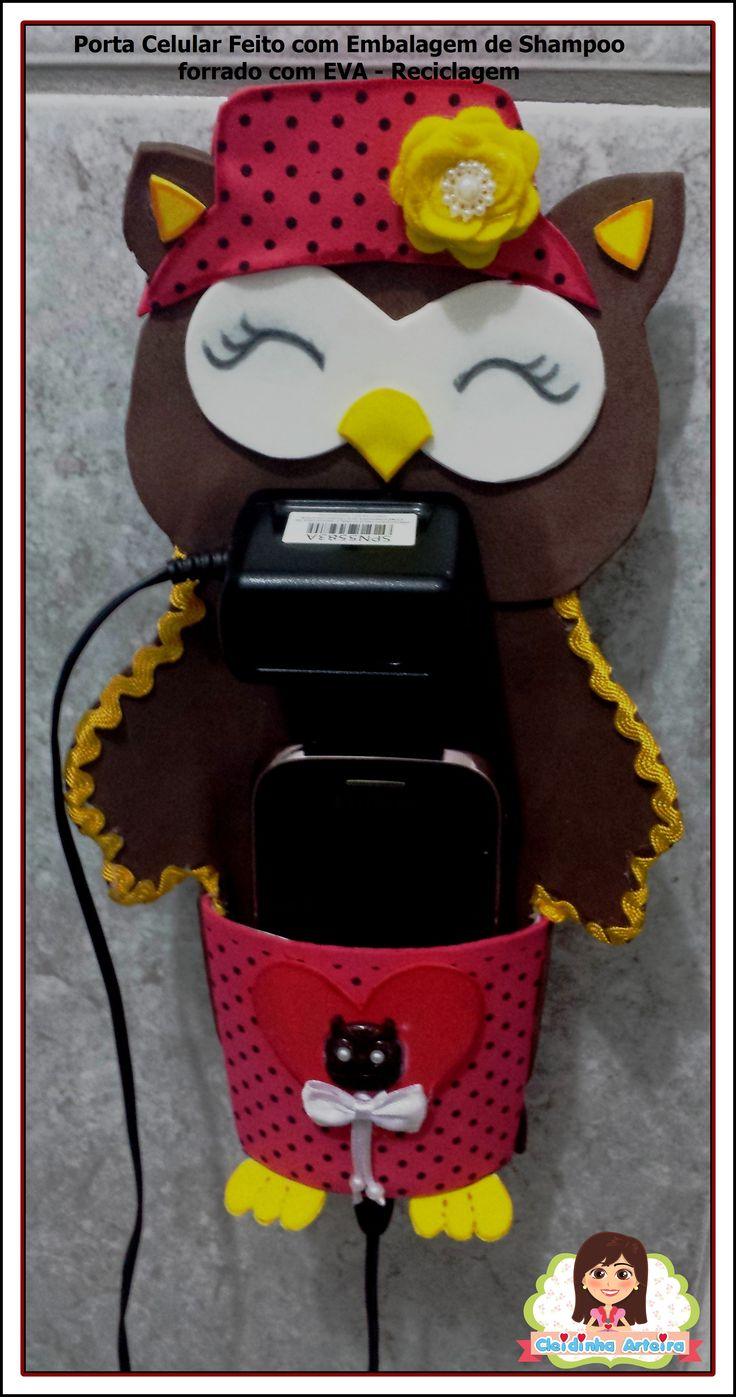 Porta carregador Celular feito com embalagem de shampoo, forrado com EVA. aqui tem o molde https://www.facebook.com/media/set/?set=a.830726527009222.1073741853.618969134851630&type=1