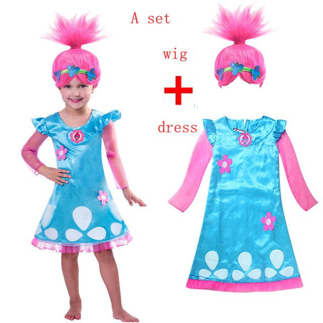 Retail Troll Wig +dresses set Children Costumes For Girls Carnival Kids Costumes Summer Girl Dress Trolls Clothes Poppy Party