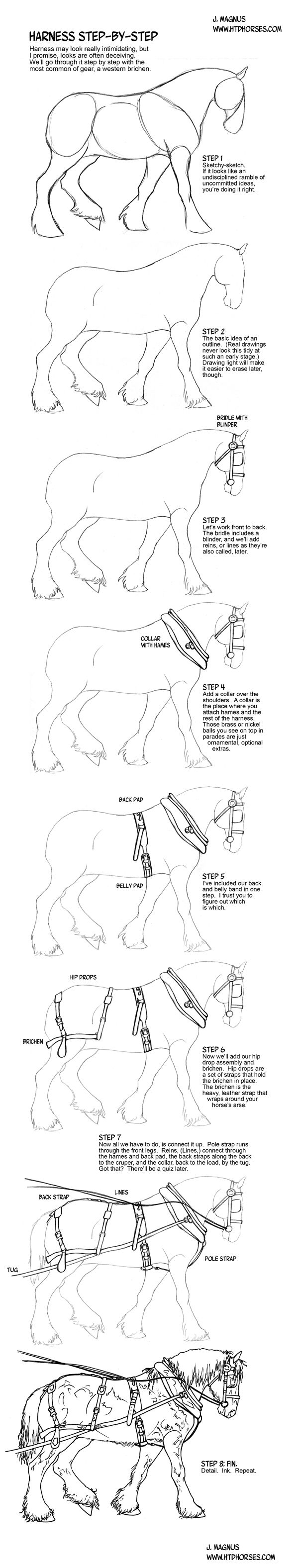 How To Draw A Horse In Harness By Sketcherjakiantart On @deviantart