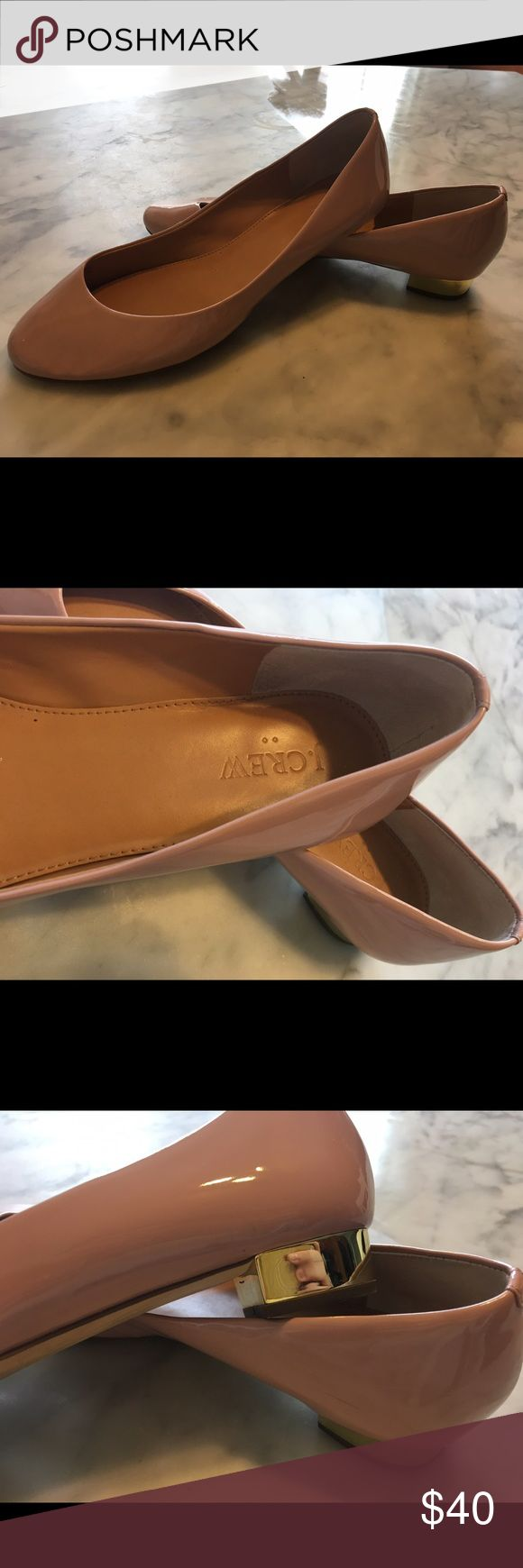 J Crew Flats Gently worn J Crew Flats with gold heel. See last picture true for true color. J. Crew Shoes Flats & Loafers