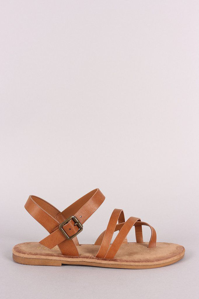 34415cc87097 Bamboo Astymmetric Ankle Strap Flat Sandals