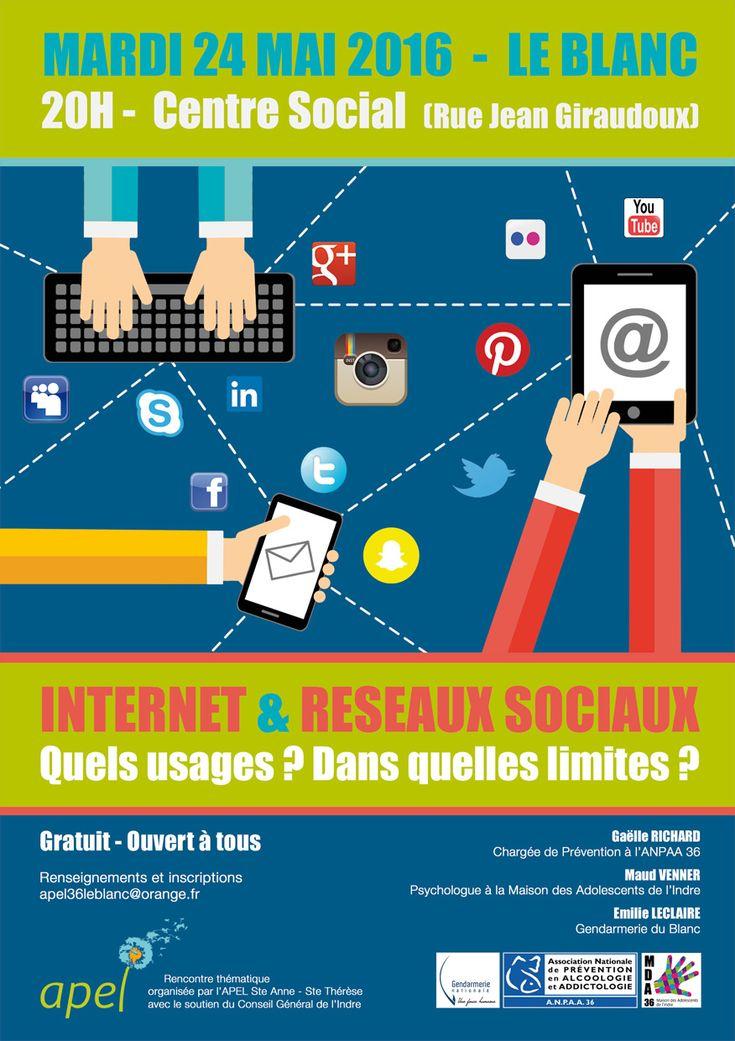 Internet & Réseaux Sociaux : quels usages ? Dans quelles limites ?, Le Blanc, Centre Social, 1 Rue Jean Giraudoux, Mardi 24 Mai 2016, 20h00