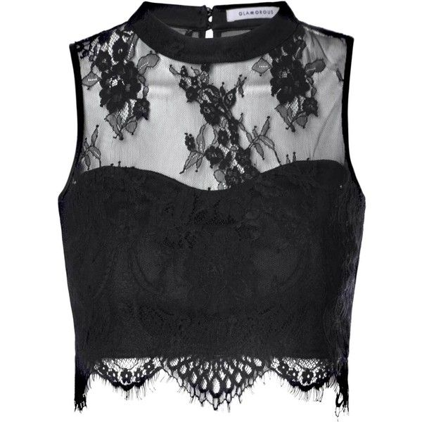Black Sheer Lace Scallop Hem Crop Top ($32) ❤ liked on Polyvore featuring tops, shirts, crop tops, black, black tube top, eyelet top, black top, black shirt and black high neck top
