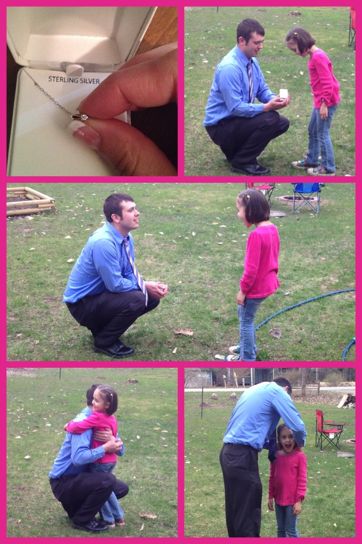 proposing to the daughter, his future step daughter! Asking her permission to marry her mom, and if she will be his stepdaughter. Love this! Makes her feel like he has a say in who and what happens in her life. Of course she said yes!